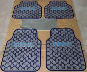 Wholesale Embossed Letter Latex Pad Car Mat Pieces Sets Fashion Design Automobile Brake Front Car Mat Waterproof Pad