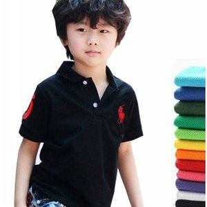 Wholesale 2019 kids designer clothes boys Lapel Short sleeves polo t shirt Boys Tops Clothing Brands Solid Color Tees Girls Classic Cotton T shirts