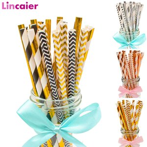 Wholesale 25pcs Gold Silver Paper Drinking Straws Merry Christmas Party Table Decorations For Home Happy New Year Ornaments Tree