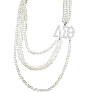 Wholesale Greek Sorority Multilayer Long Pearl Delta Sigma Theta letters Pendant Jewelry DST Custom Necklace