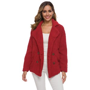 Wholesale Red Plush Coat Woman Windbreaker Jacket Double Breasted Fluffy Faux Fur Coat xl xl xl Cute Long Sleeve Plus Size Loose Jacket