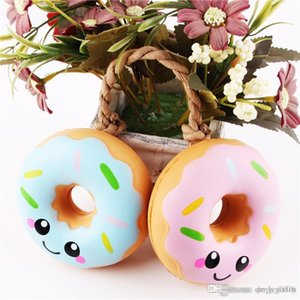 Wholesale Squishy Emoji Doughnut Toys Kawaii Smile Face Slow Rising Squishies Donut Jumbo Squeeze Phone Strap Stress Reliever Decompression Toys