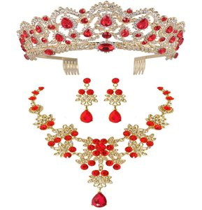 Wholesale comb crowns resale online - Baroque Vintage Gold Red Green Blue Crystal Bridal Jewelry Sets Necklace Earrings Crown With Comb African Beads Jewelry Sets