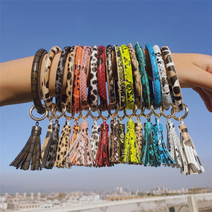 Wholesale school bracelet resale online - PU Leather Bracelet Keychain Women Fashion Leopard Bufflao Plaid Wristlet Keychain tassel Bangle Keychain Wristband Party Favor OOA7366