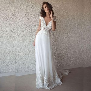 Bridal Gowns Summer Bohemian Style Deep V Neck Short Sleeve Sexy Wedding Dress Boho Long Backless White Beach 3D Lace Princess Chapel Train on Sale