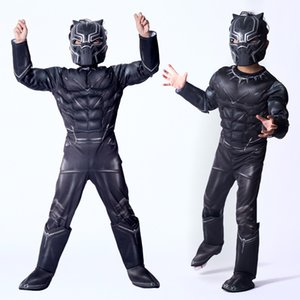 Kids Black Panther Muscle Costume Civil War American Captain Cosplay Halloween Party Fancy Dress Jumpsuit Boy