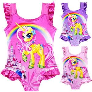 2019 New Summer kids swimwear Cartoons Rainbow Unicorn Girls SwimSuits One-Pieces bathing suits Beach Swim Bikinis kids boutique Clothes on Sale