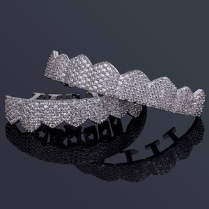 Wholesale diamond teeth resale online - Hip Hop Jewelry Mens Diamond Dientes Grillz Teeth Gold Silver Luxury Designer Iced Out Grills Hiphop Rapper Men Fashion Jewlery Accessories