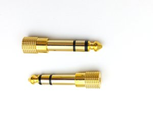 """50pcs Adapter gold plug audio jack TRS 1 4 """" 6.3mm to 1 8 inch 3.5mm"""