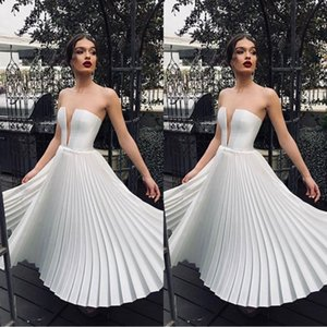 White V Neck A Line Tea Length Party Dresses With Wrinkles Ruffle Skirt Women Causal Cocktail Gowns 2036 on Sale