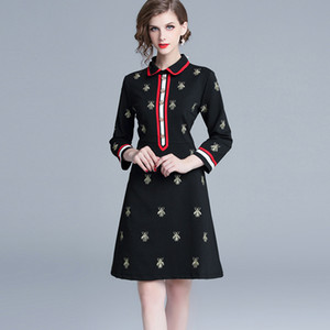 Wholesale Fall Spring Long Sleeve Lapel Neck Black Panelled Bees Embroidery Milan Runway Dress Office Lady A Line Plus Size Dresses