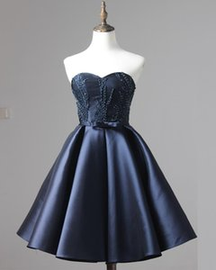 Dark Blue Pageant Evening Dresses Women's Beading Short Ball Gown Bridal Special Occasion Prom Bridesmaid Party Dress Graduation Dresses on Sale