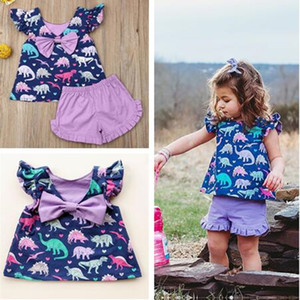 Wholesale kid dinosaur resale online - Girls Petal Sleeve Bow t shirt Dress Lace Shorts Piece Clothes Dinosaur Print Fashion Outfits Boutique Summer Kids Clothing Sets C71907