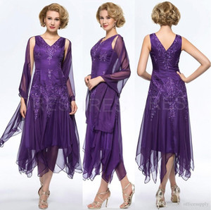 Wholesale tea length mother bride dress wrap resale online - Elegant Purple Chiffon Tea Length Mother Of The Bride Groom Dresses with Wrap Plus size V neck Hollow Back Evening Gowns