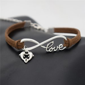 Wholesale New Designer Braided Dark Brown Leather Suede Infinity Love Heart Double Dolphin Cuff Charm Bracelets Bangles Trendy Women Men Jewelry Gifts