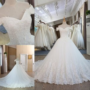 Wholesale Elegant Hot Sale V Neck A line Wedding Dresses Appliques Beaded Court Train Lace up Back Tulle Lace Bridal Wedding Gowns