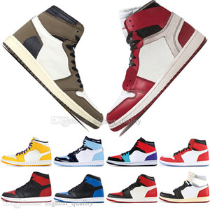 Wholesale Cheap New Boys High OG Travis Scotts UNC Spiderman Mens Basketball shoes s Top Banned Bred Toe Black Women Men Sports Designer Sneakers