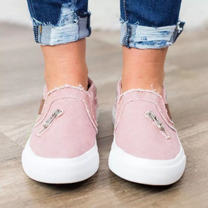 Zipper Canvas Shoes Personalized Womens Loafers Flat Jeans casual women's slip on shoes Stylish Large Size Canvas Flat shoes