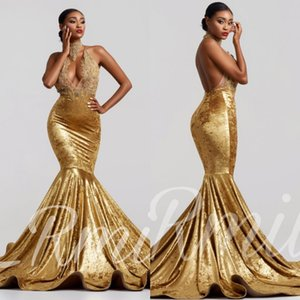 Wholesale 2019 Sexy High Neck Gold Velvet Mermaid Prom Dresses Backless Court Train See Through Lace Applique Evening Formal Gowns