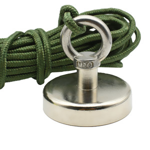Fishing Magnets Dia. 48 60 75mm Lifting Neodymium Magnet with Nylon Rope 60-150kg Pulling Deep Sea Salvage Tools Dropshipping