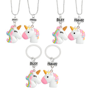Wholesale New set Best Friends Unicorn Necklace Pendant Keychains Jewelry Sets for Women Kids Gift