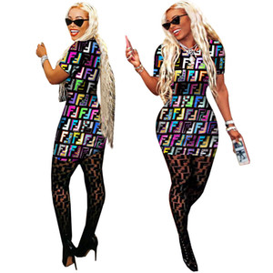 Wholesale Digital Printed Summer Women Dresses Crew Neck Letter F Printed Sexy Dresses Lady Clothing Club Bodycon Dresses