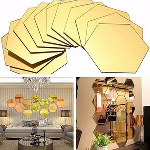 Wholesale 3D Hexagonal Mirror Wall Stickers Decoration Pack Acrylic Removable Mirror Tile Decal DIY Home Room Staircase Decor HH9