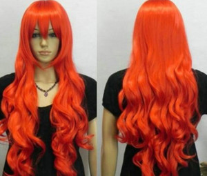 Wholesale WBY wig GOOD Hatsune HOT Red Long Wavy Cosplay Anime party Synthetic Wig