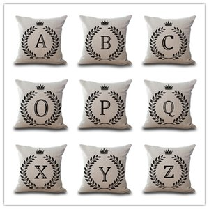 45*45CM Letter printed pillow cover cotton and linen pillow case sofa cushion cover car waist pillowcase home decor memorable gifts