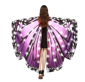 Wholesale LED Butterfly Wings Halloween Costume Shawl Fairy Pixie Costume LED Belly Dance Wings Performance Costume Accessories