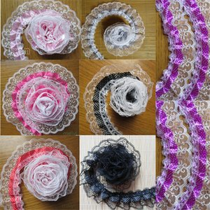 Wholesale 1 Yard layer Pleated Organza Dot Lace Edge Gathered Mesh Trim Ribbon cm Width Vintage Style Edging Fabric Dress Cake DIY