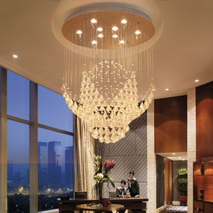 Wholesale Modern LED Spiral Sphere Rain Drop Crystal Spectacular Ceiling Lighting Fixture Round Shape Chandelier for Living Room Hotel Hallway