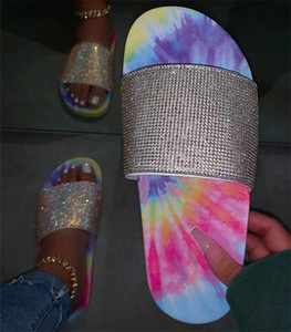 Women Color Tie-dye Slippers Summer Drill Glitter Bling Slides anti-skid Flat Shoes Low Heel Flip Flops Crystal Bling Sandals sale D61008
