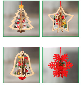 Wholesale 201909 New Design Creative Fashion Wooden Hollowed Out Christmas Tree Small Pendant Five Pointed Star Festival Home Decoration Pendant M464A