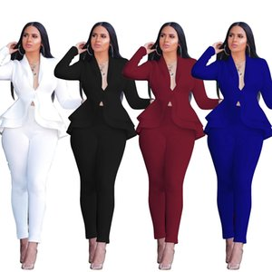 Ruffles Women's Two Piece Set Casual Blazer Coat+pants Autumn Sets Fashion Slim Top and Trousers Lady Office Suits on Sale