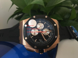Wholesale japanese quartz chronograph movement for sale - Group buy Factory Supplier Top Quality Maker Rose gold Japanese quartz movement Black rubber mm Chronograph black dial Mens Watches