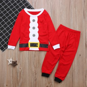 Wholesale Baby Boy Clothes Sets Red Santa Claus Christmas Costumes Newborn T Shirt Tops And Pants Soft Cotton Baby Boys Costume Suit