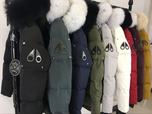 Wholesale Classic brand Men Women Winter warm Q Thick Down Jacket Hooded With black Fox Fur Collar canadian mens down coat parkas