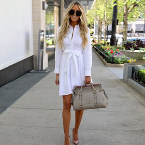 Wholesale 2018 New Fashion Women White Long Sleeve Shirt A line Dress Summer Elegant Woman Bloues Casual Clothing dresses