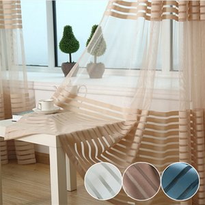 Wholesale Striped Sheer Curtains Modern Solid Striped Tulle Curtains Living Room Window Striped Sheer Curtains Window Door Voile Curtain