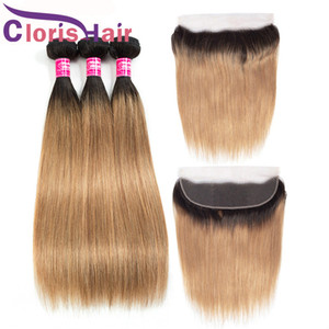 Honey Blonde Ombre 13x4 Lace Frontal Closure With Bundles Colored 1B 27 Cheap Raw Virgin Indian Straight Human Hair Weaves And Full Frontals