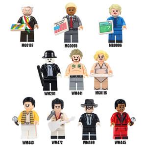 Famous person Elvis Trump Marilyn Monroe Bruce Lee Chaplin building blocks bricks figures toys for DIY