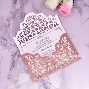 Wholesale Pink Gold Sprinkle Wedding Invitations Cordially Inviting Glittery Laser Cut Envelope Style Invitation Card for Quinceanera Bridal Shower