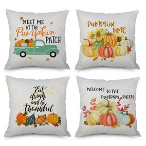 Thanksgiving Day Pumpkin Series Throw Pillow Cover Square Linen Pillowcase with Zipper Sofa Car Cafe Home Cloth Decoration 18 Inches