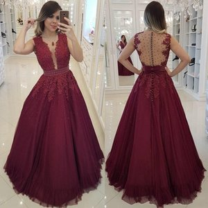 Wholesale 2019 New Elegant A-Line Burgundy Evening Dresses Arabic Tulle Lace Applique Beads V Neck Sleeveless Floor Length Prom Dresses Party Gowns