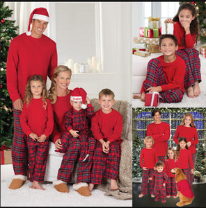 Wholesale pajamas family resale online - Newest Christmas Pajamas Family Look Christmas Grid Printed Clothes Sets Home Pajamas Outfits Family Matching Clothing Sets Matching Outfits