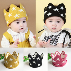 Wholesale Autumn Winter Infant Baby Knitted Crown Hat Kids Crochet Headband Cap Children Birthday Party Beanies Boys Girls Knitting Hats x12cm