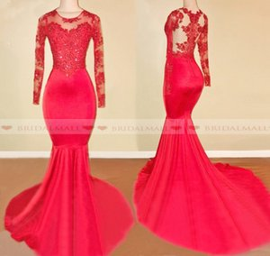 2019 Illusion High Neck Red Long Sleeves Mermaid Prom Dresses Appliques Lace Formal Party Gowns Vestidos Women Wear Sheath Evening Dress on Sale