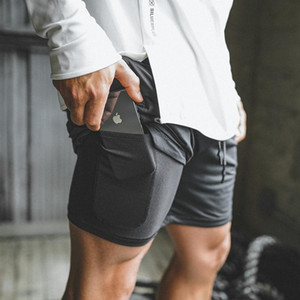 2019 New Men Sports Gym Compression Phone Pocket Wear Under Base Layer Short Pants Athletic Solid Tights Shorts Pants