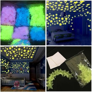 Wholesale 4 Color cm Star Wall Stickers Stereo Plastic Luminous Fluorescent Paster Glowing In The Dark Decals For Baby Room B